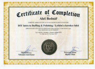 Certifikát - chemical guys leštění a korekce laku